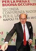 NAPOLI 15/06/2012 CONFERENZA NAZIONALE PER IL LAVORO DEL PARTITO DEMOCRATICO.NELLA FOTO  PIER LUIGI BERSANI .FOTO CIRO DE LUCA.