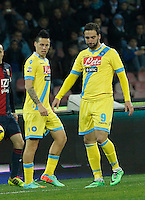 Marek Hamsik  Gonzalo Higuain   in action during the Italian Serie A soccer match between SSC Napoli and Genoa CFC   at San Paolo stadium in Naples, Feburary 24 , 2014