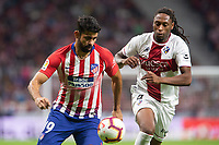 Diego Costa of Atletico Madrid and Semedo of SD Huesca during the match between Atletico Madrid v SD Huesca of LaLiga, 2018-2019 season, date 6. Wanda Metropolitano Stadium. Madrid, Spain - 25 September 2018. Mandatory credit: Ana Marcos / PRESSINPHOTO