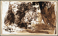 BNPS.co.uk (01202 558833)<br /> Pic:  ChiswickAuctions/BNPS<br /> <br /> 'A Woodland Glade', from Constable's late period, sold for &pound;75,000.<br /> <br /> Two previously unknown drawings by English artist John Constable that hung above a connoisseurs's bed for 50 years have sold for &pound;115,000.<br /> <br /> The small sketches of a woodland glade belonged to the late playwright Christopher Fry and were found by his son Tam while clearing out his father's home.<br /> <br /> Mr Fry Snr placed the two pen and ink drawings on his bedroom wall after acquiring them in the 1950s.<br /> <br /> After his death in 2005 aged 97, the drawings were placed in a cardboard box and left in a spare room.<br /> <br /> Tam Fry, a retired BBC TV director, did not realise who the artist was at first until his daughter spotted the name John Constable RA inscribed on the mounts.