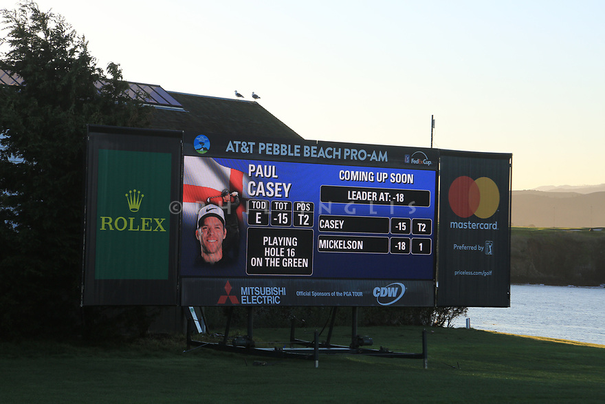 Scoreboard during the final round of the AT&T Pro-Am, Pebble Beach Golf Links, Monterey, USA. 11/02/2019<br /> Picture: Golffile | Phil Inglis<br /> <br /> <br /> All photo usage must carry mandatory copyright credit (© Golffile | Phil Inglis)