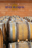 Chateau Rives-Blanques. Limoux. Languedoc. Barrel cellar. France. Europe.