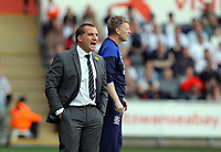 FAO SPORTS PICTURE DESK<br /> Pictured L-R: Managers Brendan Rodgers of Swansea and David Moyes of Everton. Saturday, 24 March 2012<br /> Re: Premier League football, Swansea City FC v Everton at the Liberty Stadium, south Wales.