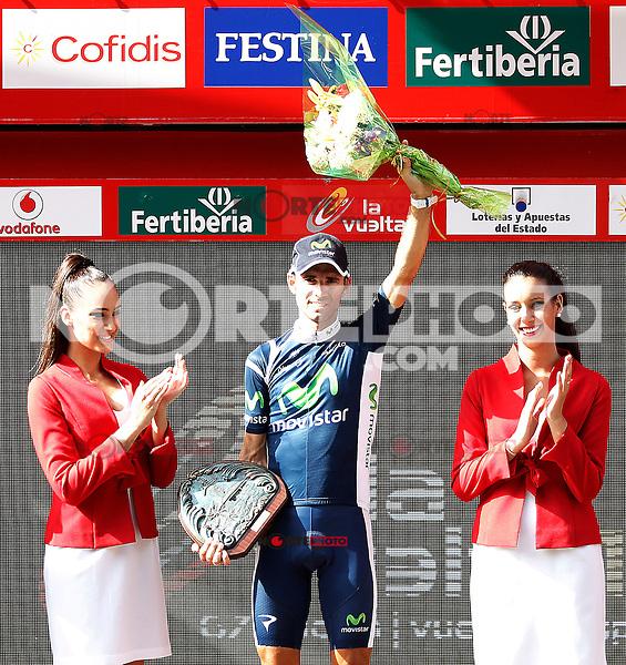 Alejandro Valverde celebrates the victory  in the stage of La Vuelta 2012 between Faustino V and Eibar (Arrate).August 20,2012. (ALTERPHOTOS/Acero) /NortePhoto.com<br /> <br /> **CREDITO*OBLIGATORIO** <br /> *No*Venta*A*Terceros*<br /> *No*Sale*So*third*<br /> *** No Se Permite Hacer Archivo**<br /> *No*Sale*So*third*