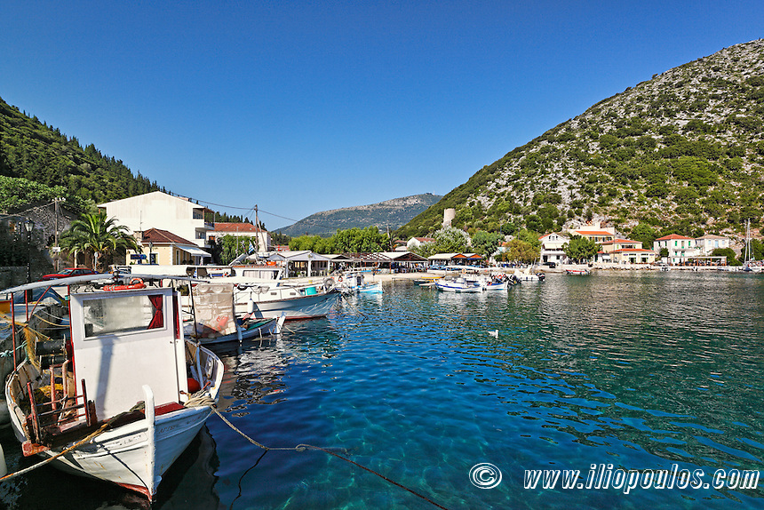 Fishing boats at the port of Frikes in Ithaki island, Greece