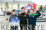 watching the Euro 2016 Match on the Big Screen in the Square Tralee of  Ireland v Belgum on Saturday were l-r  John O'Connor, Grahame Sheehy and Joshua Roche