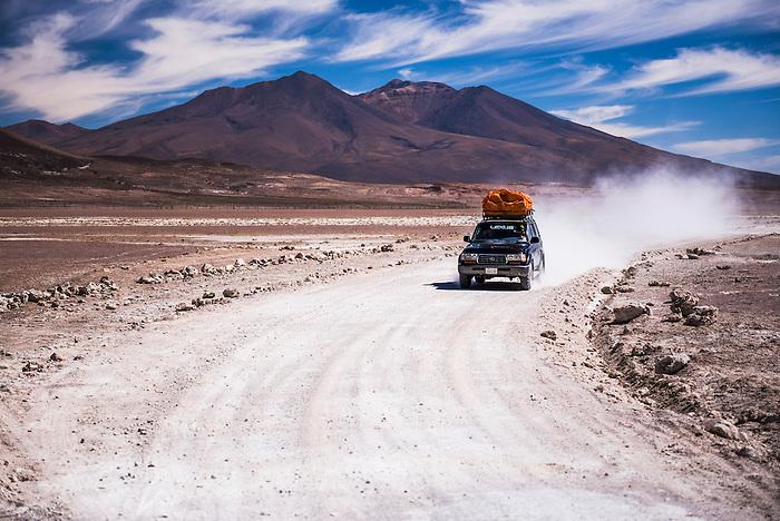 4wd Bolivian Altiplano tour passing volcanoes, South-West Bolivia