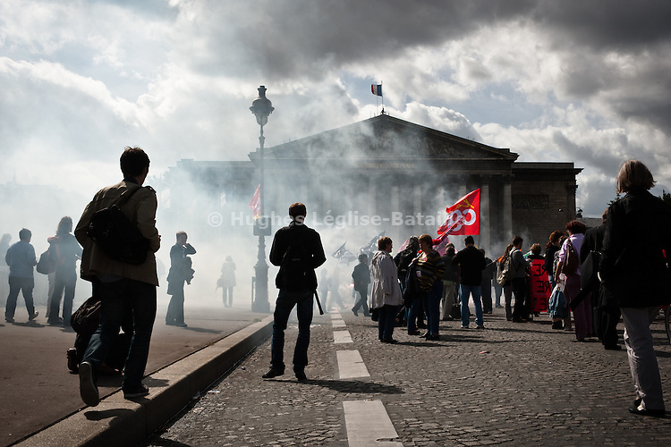 A couple of thousand people demonstrated on the Concorde square in front of the National Assembly in Paris on Sept. 15 against the reform of the pension law which was voted on the afternoon..____________________________________________.2010 in France was marked by one of the largest social crisis as millions took to the streets during 3 months to oppose Sarkozy Government's reform of the pension law. The country came close to a standstill in October with gasoline shortage but before Christmas, the law was passed.