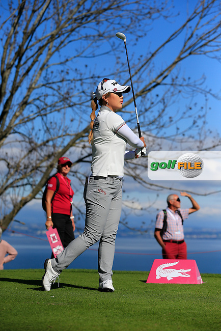 Meena Lee (KOR) tees off the 5th tee during Saturday's Round 3 of The Evian Championship 2014 held at the Evian Resort Golf Club, Evian-les-Bains, France.: Picture Eoin Clarke, www.golffile.ie: 13th September 2014