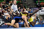 BIRMINGHAM, AL - MARCH 11:  DeAndre` Johnson of Limestone takes on Destin McCauley of the University of Nebraska-Kearney in the 141 lb weight class during the Division II Men's Wrestling Championship held at the Birmingham CrossPlex on March 11, 2017 in Birmingham, Alabama. (Photo by Jamie Schwaberow/NCAA Photos via Getty Images)