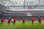 Zlatan Ibrahimovic of AC Milan warms up with team mates before the Serie A match at Giuseppe Meazza, Milan. Picture date: 6th January 2020. Picture credit should read: Jonathan Moscrop/Sportimage