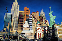 New York-New York Hotel & Casino. $460 million mega resort.  Las Vegas, Nevada. Joint venture of MGM Grand, Inc. and Primadonna Resorts Inc. New York-New York resort is built to represent a classic Manhattan skyline. Depicts 12 skyscrapers, has s 2,035 ro