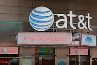 An AT&T store is pictured in New York City, NY Tuesday August 2, 2011. AT&T Inc. (NYSE: T) is an American multinational telecommunications corporation and largest provider of mobile telephony and fixed telephony in the United States.