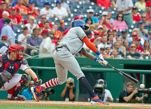 New York Mets shortstop Jose Reyes (7) strikes-out in the first inning against the Washington Nationals at Nationals Park in Washington, D.C. on Monday, July 3, 2017.<br /> Credit: Ron Sachs / CNP<br /> (RESTRICTION: NO New York or New Jersey Newspapers or newspapers within a 75 mile radius of New York City)