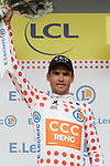 Greg Van Avermaet (BEL) CCC Team wears the first mountains Polka Dot Jersey at the end of Stage 1 of the 2019 Tour de France running 194.5km from Brussels to Brussels, Belgium. 6th July 2019.<br /> Picture: Colin Flockton | Cyclefile<br /> All photos usage must carry mandatory copyright credit (© Cyclefile | Colin Flockton)