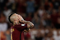 Calcio, Serie A: Roma, stadio Olimpico, 26 agosto, 2017.<br /> Roma's Radja Naiggolan reacts during the Italian Serie A football match between Roma and Inter at Rome's Olympic stadium, August 26, 2017.<br /> UPDATE IMAGES PRESS/Isabella Bonotto
