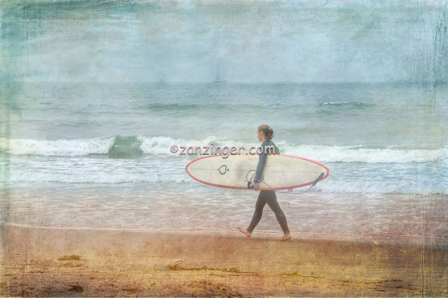 Woman Surfer walking along Beach, Digital oil painted texture,  Beautiful, Unique