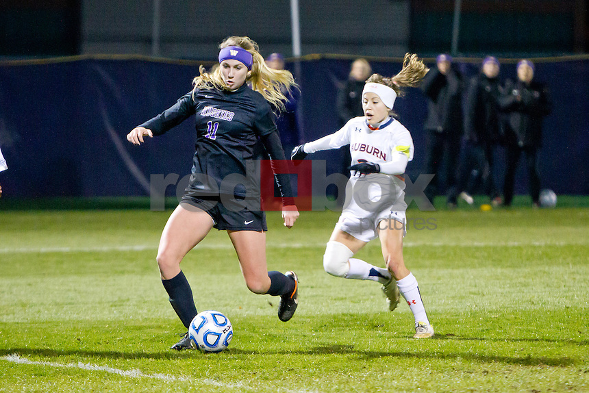 The University of Washington  women's soccer team plays Auburn University in the first round of the NCAA playoffs at Husky Soccer Stadium on Friday November 9, 2012. (Photo by Scott Eklund /Red Box Pictures)