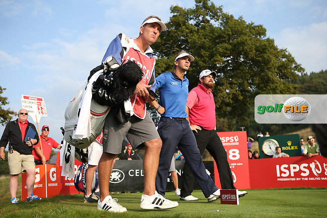 Off they go to settle to clubhouse lead with Joost Luiten (NED) one shot ahead of Shane Lowry (IRL) during Round Three of the ISPS Handa Wales Open 2014 from the Celtic Manor Resort, Newport, South Wales. Picture:  David Lloyd / www.golffile.ie