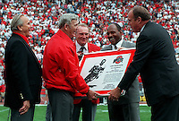 "Photo taken Oct. 22, 1994, at the Ohio State vs. Purdue game -- OSU FOOTBALL HEROES - Heisman Trophy winners Vic Janowicz (1950), Les Horvath (1944), Howard ""Hopalong"" Cassady (1955), Archie Griffin (1974-75), and OSU AD Andy Geiger during halftime. THEY GATHER ON THE FIELD FOR AN AWARDS PRESENTATION BY OHIO STATE ATHLETIC DIRECTOR ANDY GEIGER. HORVATH WON THE HEISMAN 50 YEARS AGO. (Dispatch photo by DORAL CHENOWETH III)"