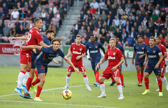 08.08.2019 FC Midtjylland v Rangers: Nikola Katic and Rsamus Nicolaisen