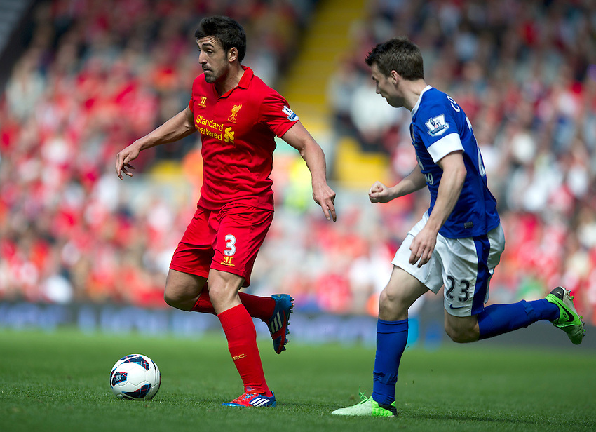 Liverpool's Jose Enrique and Everton's Seamus Coleman .. - (Photo by Stephen White/CameraSport) - ..Football - Barclays Premiership - Liverpool v Everton - Sunday 5th May 2013 - Anfield - Liverpool..© CameraSport - 43 Linden Ave. Countesthorpe. Leicester. England. LE8 5PG - Tel: +44 (0) 116 277 4147 - admin@camerasport.com - www.camerasport.com