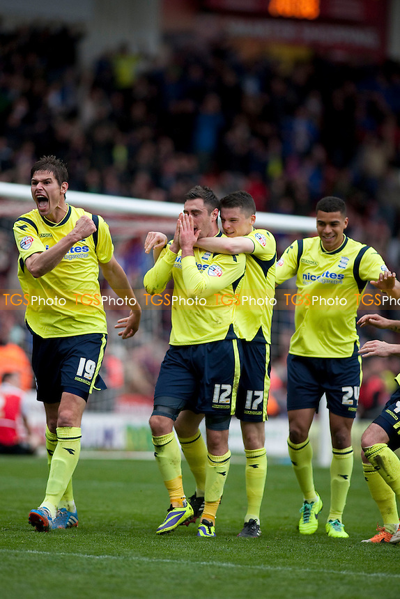 Lee Novak (12) of Birmingham celebrates their 2nd goal with Nikola Žigić<br />  - Doncaster Rovers vs Birmingham City - Sky Bet Championship Football at the Keepmoat Stadium, Doncaster - 05/04/14 - MANDATORY CREDIT: Mark Hodsman/TGSPHOTO - Self billing applies where appropriate - 0845 094 6026 - contact@tgsphoto.co.uk - NO UNPAID USE