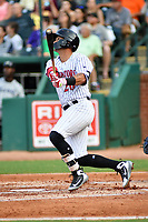 Northern Divisions second baseman Tate Blackman (20) of the Kannapolis Intimidators swings at a pitch during the South Atlantic League All Star Game at First National Bank Field on June 19, 2018 in Greensboro, North Carolina. The game Southern Division defeated the Northern Division 9-5. (Tony Farlow/Four Seam Images)