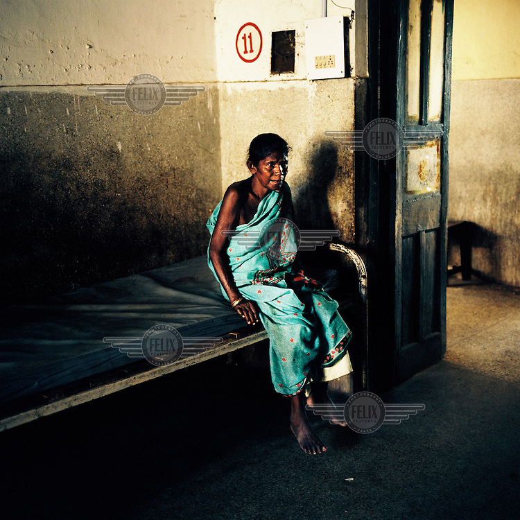A patient in a small clinic in Orissa state.