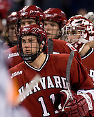 Jon Pelle (Harvard 11) goes through the handshake line. The Boston College Eagles defeated the Harvard University Crimson 6-5 in overtime on Monday, February 11, 2008, to win the 2008 Beanpot at the TD Banknorth Garden in Boston, Massachusetts.