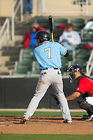 Andy Ibanez (7) of the Hickory Crawdads at bat against the Kannapolis Intimidators at Kannapolis Intimidators Stadium on April 10, 2016 in Kannapolis, North Carolina.  The Intimidators defeated the Crawdads 10-3.  (Brian Westerholt/Four Seam Images)