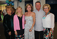NWA Democrat-Gazette/CARIN SCHOPPMEYER Karolyn Farrell (from left), Janet Cupit, Dorothy Hanby and Don and Carol Lynn Gibson attend opening night for Mamma Mia! on July 12 at the Arts Center of the Ozarks in Springdale.