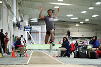 WINSTON-SALEM, NC - FEBRUARY 08: Tajanel Goodwin wins the Women's Triple Jump with a jump of 12.36 meters at JDL Fast Track on February 08, 2020 in Winston-Salem, North Carolina.