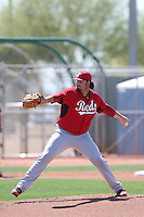 David Holmberg #64 of the Cincinnati Reds pitches during a Minor League Spring Training Game against the Cleveland Indians at the Cincinnati Reds Spring Training Complex on March 25, 2014 in Goodyear, Arizona. (Larry Goren/Four Seam Images)