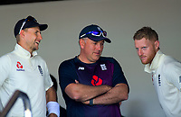 From left, England captain Joe Root, coach Chris Silverwood and Ben Stokes during day one of the international cricket 1st test match between NZ Black Caps and England at Bay Oval in Mount Maunganui, New Zealand on Thursday, 21 November 2019. Photo: Dave Lintott / lintottphoto.co.nz