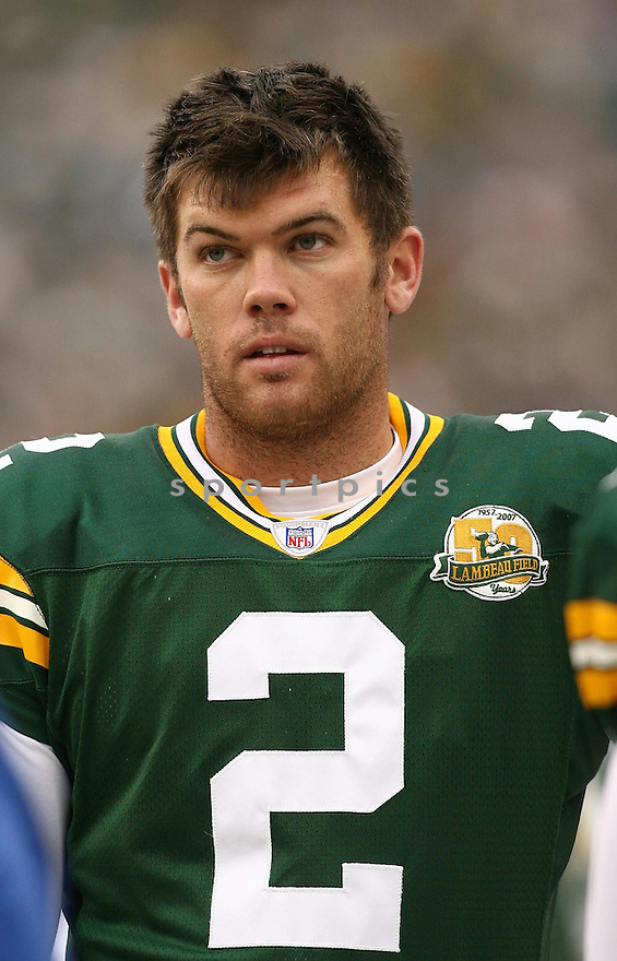 MASON CROSBY, of the Green Bay Packers, in action during the Packers games against the Washington Redskins, in Green Bay, Wisconsin on October 14, 2007.  ..The Packers won the game 17-14...COPYRIGHT / SPORTPICS..........