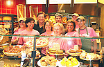 "Guiding Light's Frank Dicopoulos ""Frank Cooper"" and Daniel Cosgrove ""Billy Lewis"" behind the counter of Panera Bread where they all donated their time for Young Women's Breast Cancer Awareness Foundation by going to Pittsburgh, PA on October 7, 2008 and went Pink with Panera. They visited three of 27 Panera Bread locations during the day where 100% of sales from their Pink Ribbon bagels went to the foundation and a portion of those sales all during the month of October. For more information go to www.breastcancerbenefit.org. The day started out with Star 100.7 and the hosts Kate and JR interviewed Frank Dicopoulos. The two actors then went to the CBS studio in Pittsburgh in the morning. The day was a great hit. (Photo by Sue Coflin/Max Photos)"
