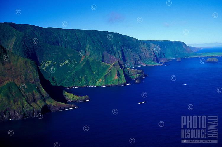 Aerial of cliffs along North shore, Molokai
