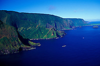 Aerial of cliffs along North shore, Molokai