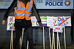 © Joel Goodman - 07973 332324 . 22/02/2018 . Manchester , UK . Placards . 100s of protesters , campaigning against the sexual harassment, abuse, rape and victim-blaming suffered by women, hold a Reclaim the Night march and rally from Owens Park in Fallowfield to the Manchester Academy on Oxford Road . Photo credit : Joel Goodman