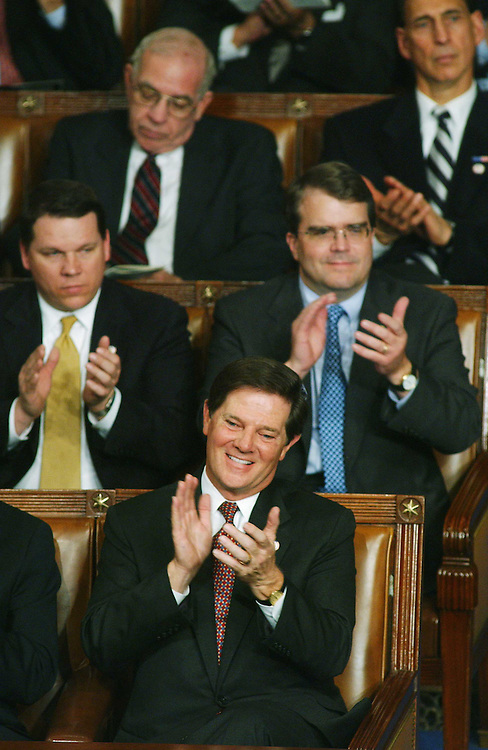 1/28/03.STATE OF THE UNION ADDRESS--House Majority Leader Tom DeLay, R-Texas, and other Republicans applaud during President George W. Bush's State of the Union address at the U.S. Capitol..CONGRESSIONAL QUARTERLY PHOTO BY SCOTT J. FERRELL