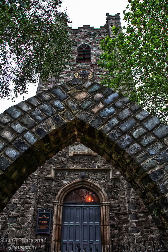 Looking up through and past the arch at St. Audoen's Church in Dublin.