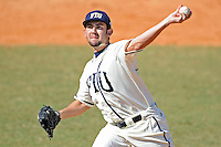 28 February 2010:  FIU's R.J. Fondon (19) pitches in the seventh inning as the FIU Golden Panthers defeated the Oral Roberts Golden Eagles, 7-6 (10 innings), at University Park Stadium in Miami, Florida.