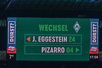 10.02.2019, Weser Stadion, Bremen, GER, 1.FBL, Werder Bremen vs FC Augsburg, <br /> <br /> DFL REGULATIONS PROHIBIT ANY USE OF PHOTOGRAPHS AS IMAGE SEQUENCES AND/OR QUASI-VIDEO.<br /> <br />  im Bild<br /> <br /> Feature Anzeigentafel Spielerwechselund, Einwechslung Claudio Pizarro (Werder Bremen #04) , Auswechslung Johannes Eggestein (Werder Bremen #24)<br /> <br /> Foto © nordphoto / Kokenge