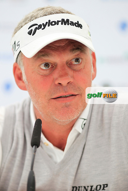 Darren Clarke (NIR) speaking to the media ahead of the Irish Open at Royal Portrush GC,Portrush,County Antrim,Ireland. 27/6/12.Picture Fran Caffrey www.newsfile.ie