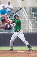 Gavin Cecchini (2) of the Savannah Sand Gnats at bat against the Kannapolis Intimidators at CMC-Northeast Stadium on June 9, 2014 in Kannapolis, North Carolina.  The Intimidators defeated the Sand Gnats 4-2.  (Brian Westerholt/Four Seam Images)