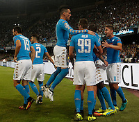 Calcio, Champions League Gruppo B: Napoli vs Benfica. Napoli, stadio San Paolo, 28 settembre 2016. <br /> Napoli's Marek Hamsik is partially seen as he celebrates with teammates after scoring during the Champions League Group B soccer match between Napoli and Benfica at the Naples' San Paolo stadium, 28 September 2016. Napoli won 4-2.<br /> UPDATE IMAGES PRESS/Isabella Bonotto