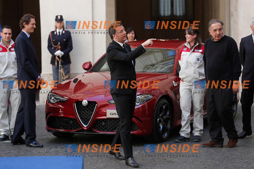 Matteo Renzi, John Elkann e Sergio Marchionne <br /> Roma 05-05-2016 Palazzo Chigi. Presentazione della Nuova Alfa Romeo Giulia.<br /> Rome 16th May 2016. Presentation of the new Giulia by Alfa Romeo.<br /> Photo Samantha Zucchi Insidefoto