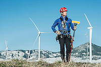 Owner and Operator of Gemini Services LLC, Trask Bradbury (cq) near a wind turbine testing site outside Boulder, Colorado, Friday, May 3, 2013. <br /> <br /> Photo by Matt Nager