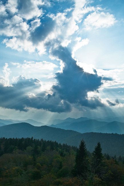 Storm clouds and sunbeams over the Nantahala, Blue Ridge Parkway